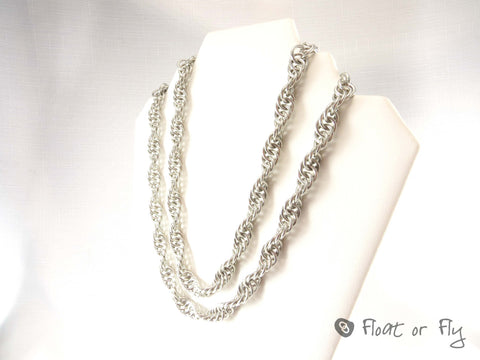Double Spiral Strand Chain Maille Necklace