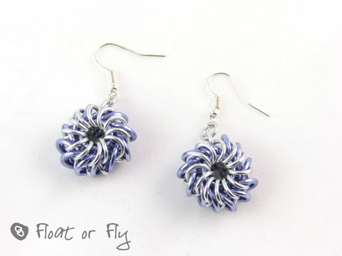 Whirlybird Chain Maille Earrings - Lilac