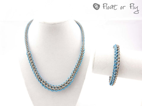 Graduated Full Persian Chain Maille Necklace and Bracelet Set - Sky Blue & Tan