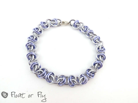 Barrel Weave Chain Maille Bracelet - Lilac & Frost