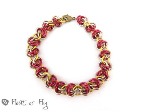 Barrel Weave Chain Maille Bracelet - Red & Gold