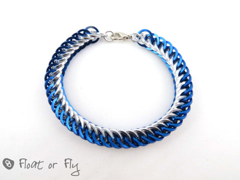 Half Persian Chain Maille Square Ring Bracelet - Blue & Silver