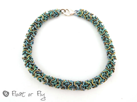 Turkish Round Chain Maille Niobium Bracelet - Green & Bronze