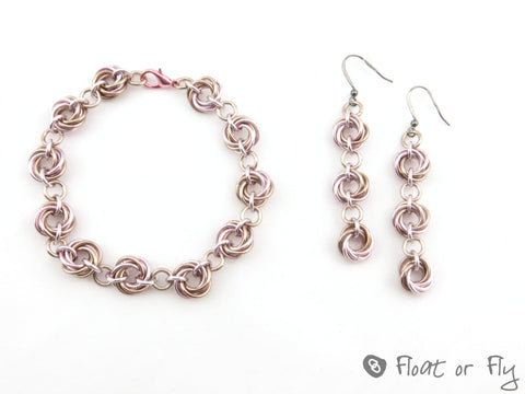 Mobius Chain Maille Bracelet and Earring Set - Pink and Tan