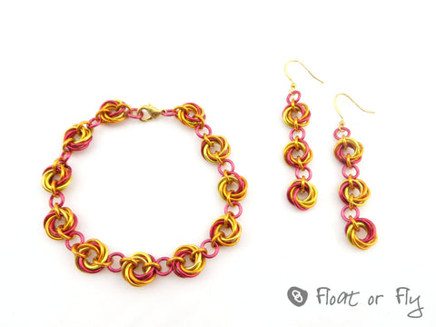 Mobius Chain Maille Bracelet and Earring Set - Flame
