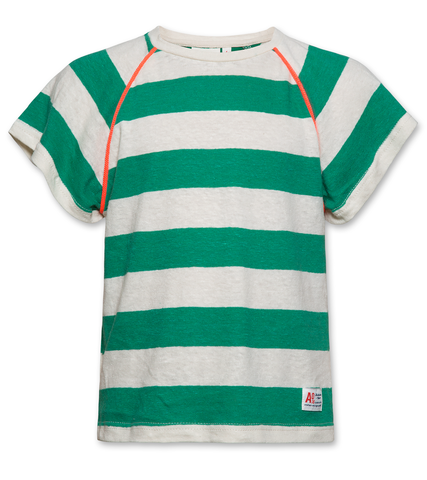 AO76 120-1130 Tshirt striped cneck green