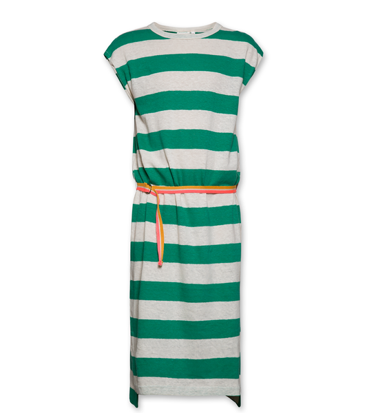 AO76 120-1138 Tshirt striped dress green