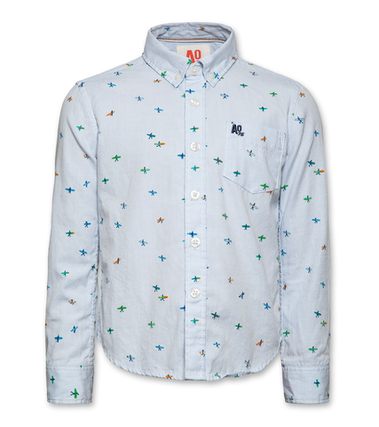 AO 120-2400-10 surfers button down shirt 0785 blue