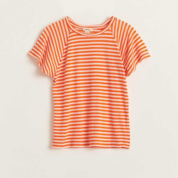 BELLEROSE chili tshirt stripe orange met flared mouwtje