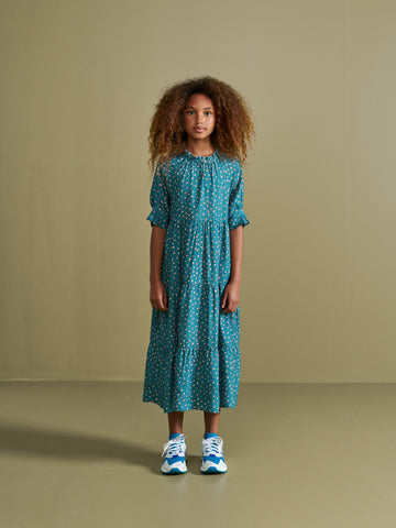 BELLEROSE PATTIE DRESS FLORAL DRESS BLUE GREEN