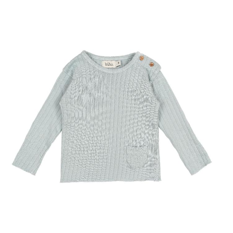 BUHO PARIS rib tshirt misty blue
