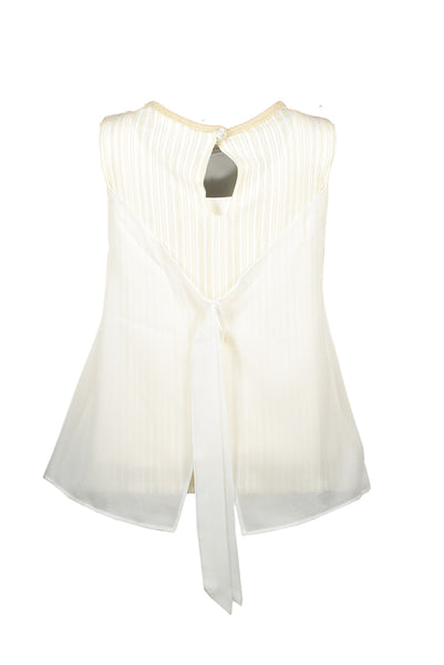 LC GIRLS C911-5119 off white top 2 layered fancy voile