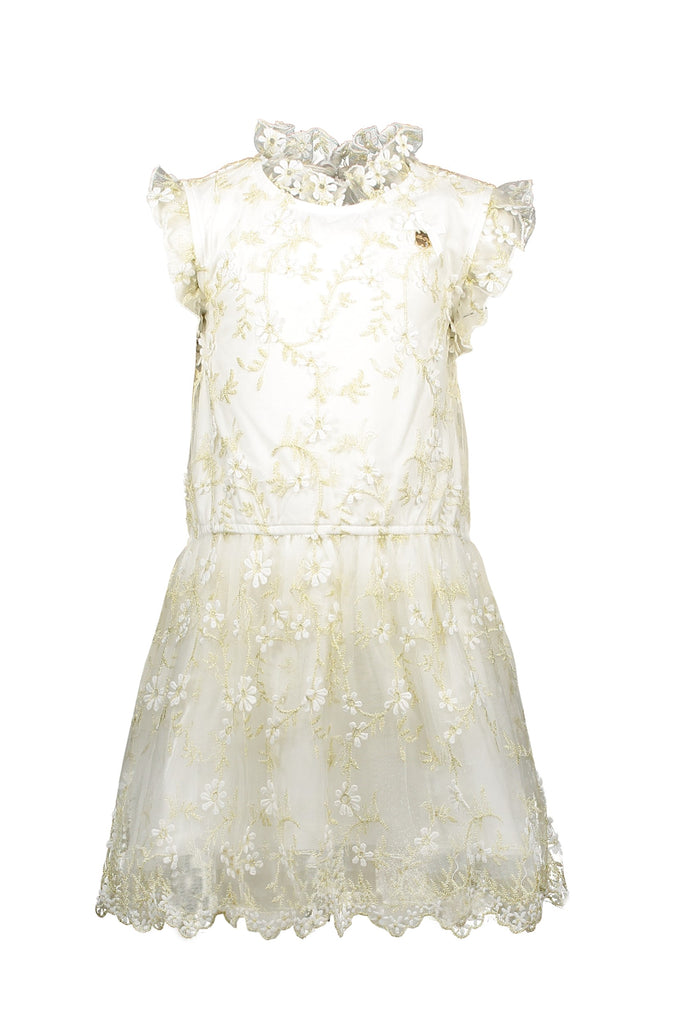 LC GIRLS C911-5810 off white dress embr. golden leaves