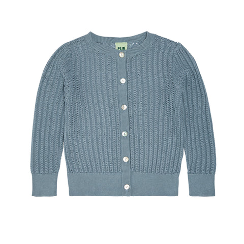 FUB pointelle cardigan blue (1920)