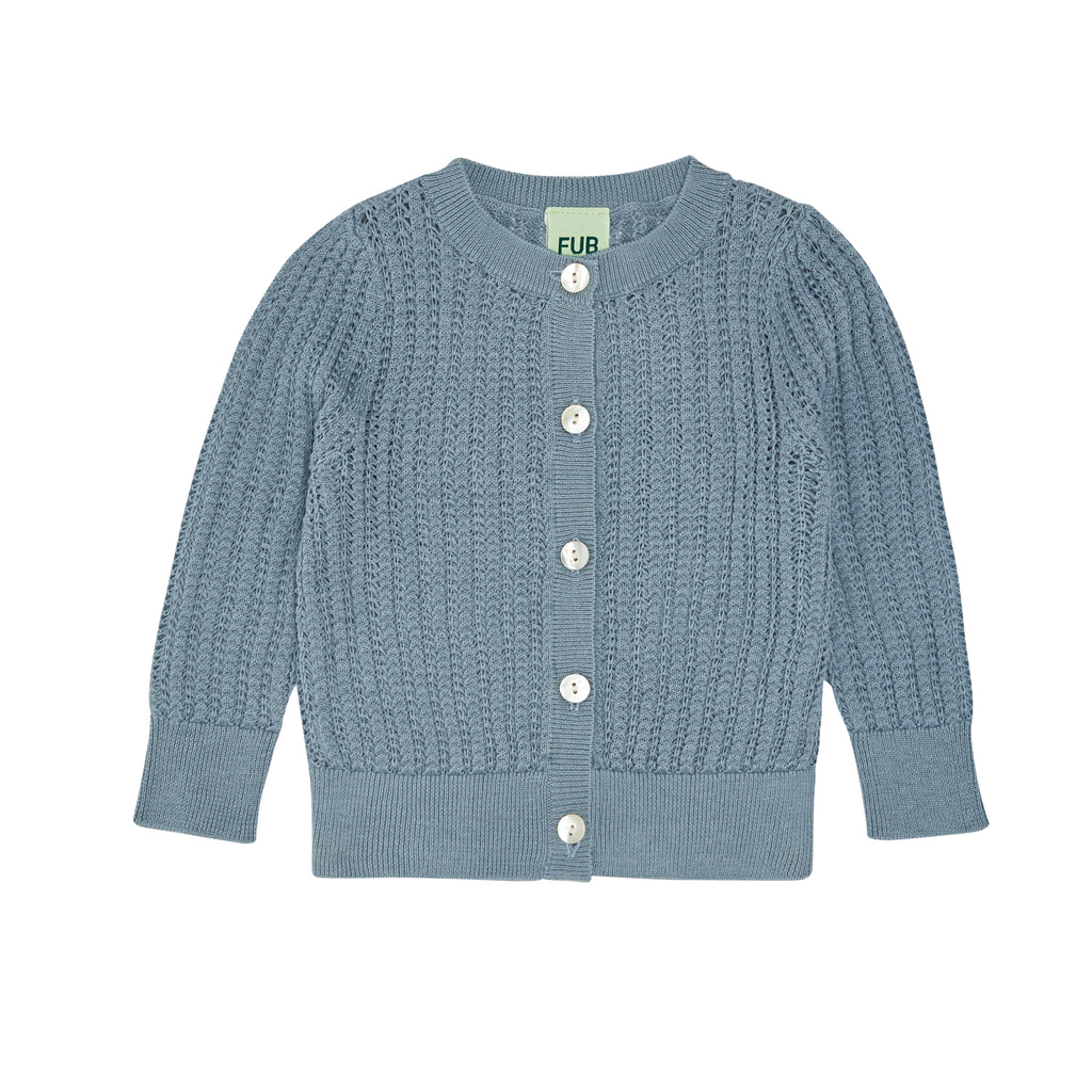 FUB baby cardigan pointelle blue