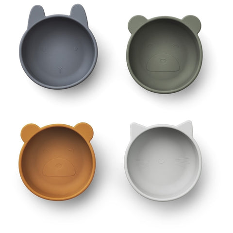 LIEWOOD Iggy silicone bowls (set van 4) Blue mix