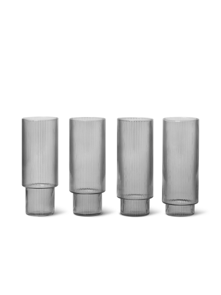 Ferm living Ripple longdrink glasses (set of 4) smoked grey