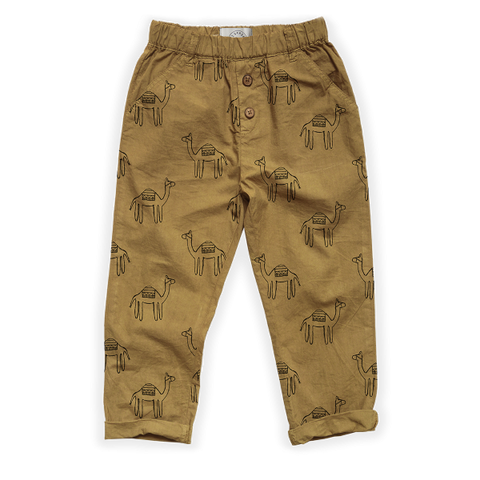 BABY SPROET & SPROUT WOVEN PANTS CAMEL PRINT