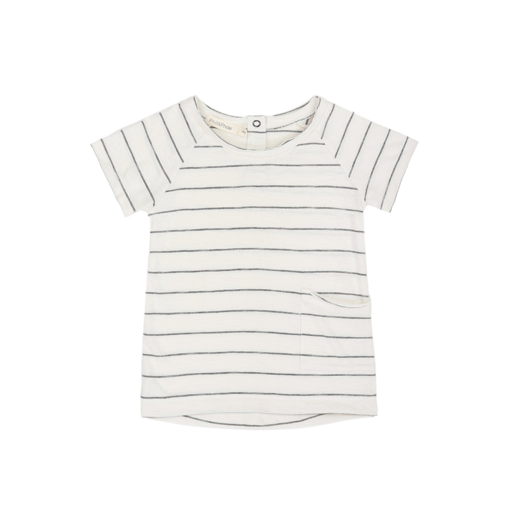PHIL AND PHAE raw edged tshirt short sleeve vanilla stripe
