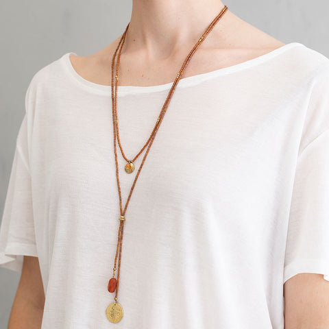 Ketting Fairy carnelian dandelion gold necklace BL23458