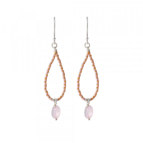 Oorbel Magical Rose quartz silver earrings BL24163