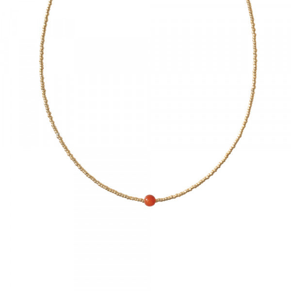 Ketting Flora Carnelian Gold Necklace