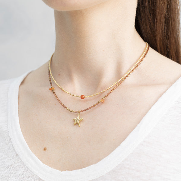 Ketting Wildflower Carnelian Gold Necklace BL24553