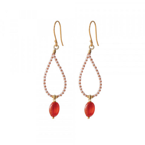 Oorbel Magical carnelian gold earrings BL24563