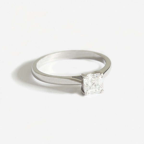 Platinum Certificated Asscher Cut Diamond Solitaire Ring