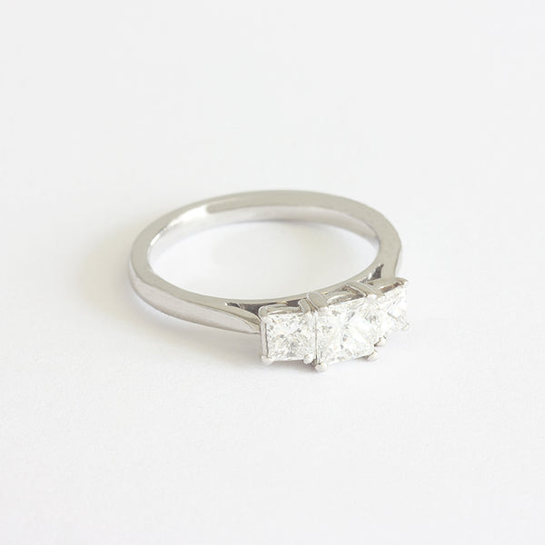 diamond 3 stone princess cut engagement ring in platinum