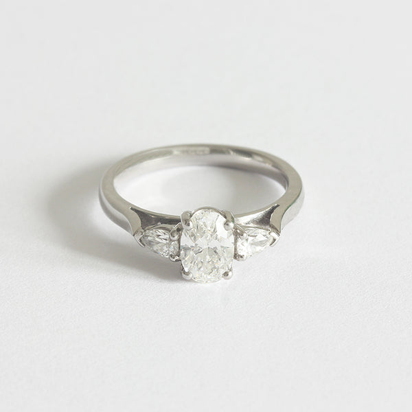 a beautiful platinum diamond 3 stone engagement ring