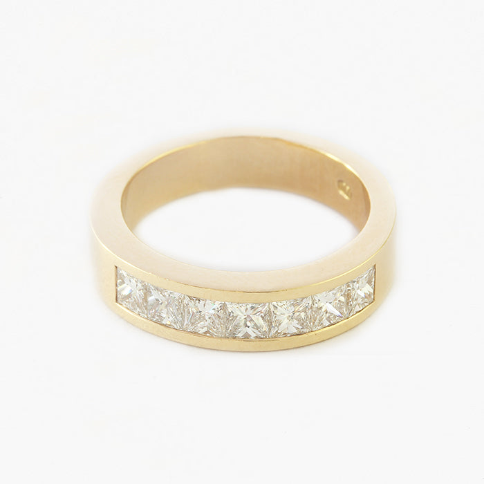 a princess cut diamond 7 stone half eternity wedding ring yellow gold