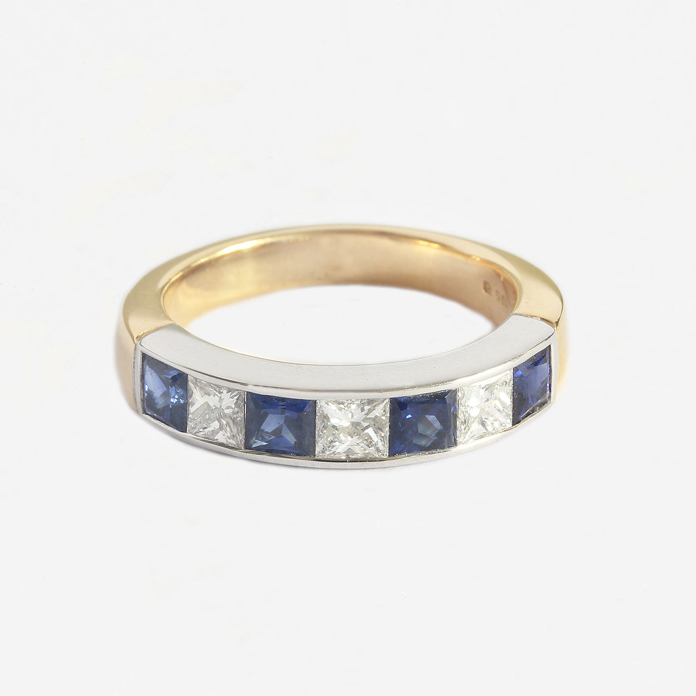 a sapphire and diamond 7 stone eternity ring square stones