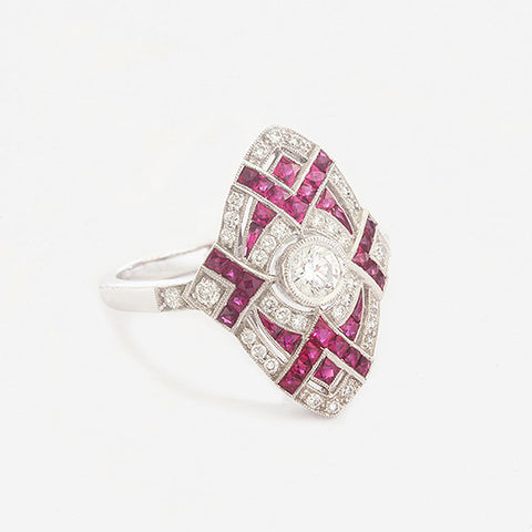 a beautiful ruby and diamond art deco design marquise shape ring white gold