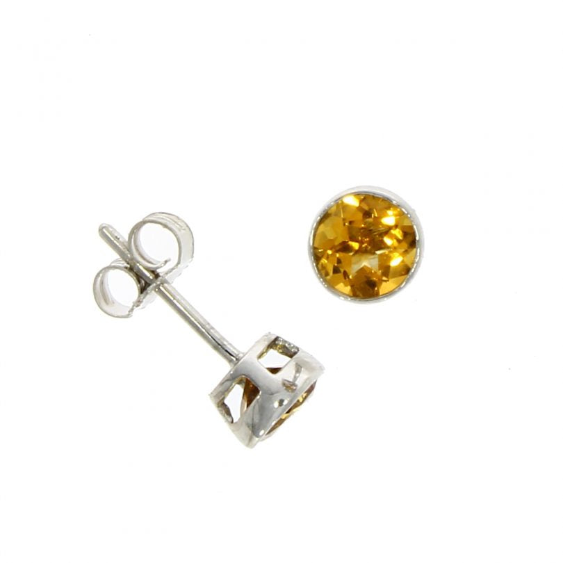 9 carat white gold 5mm round citrine stud earrings