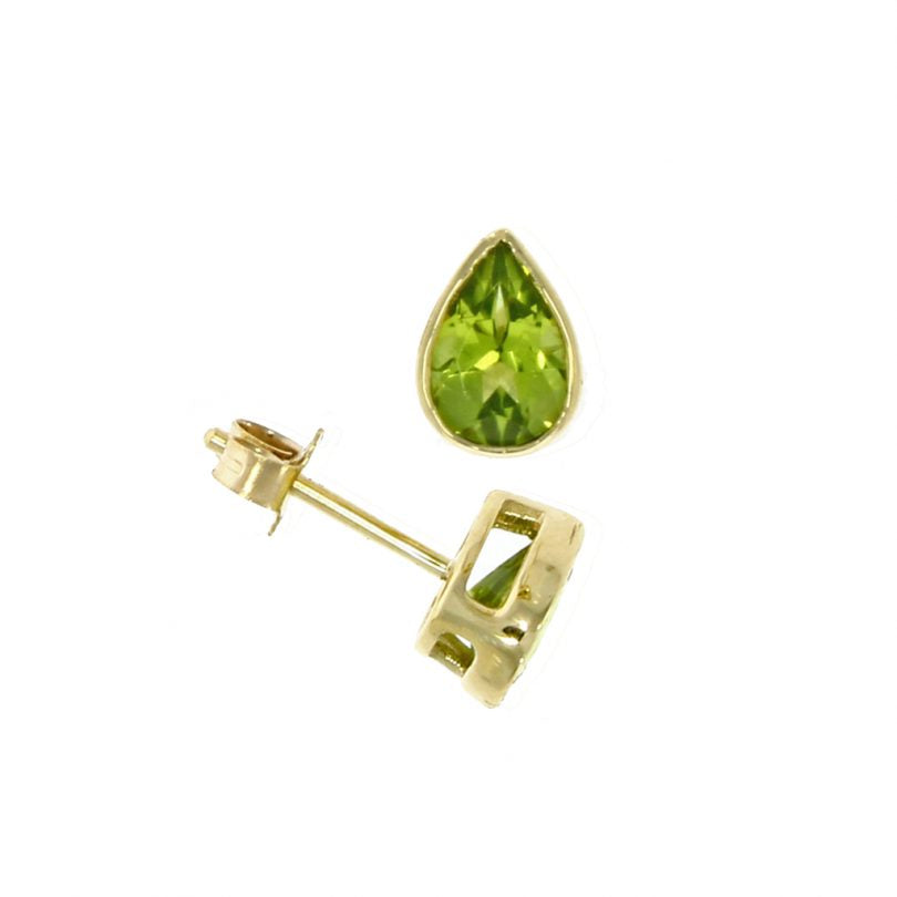 Peridot Pear Shape Rubover Earrings in 9ct Gold