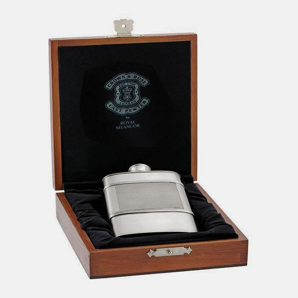 a pewter hip flask with a presentation box by royal selangor