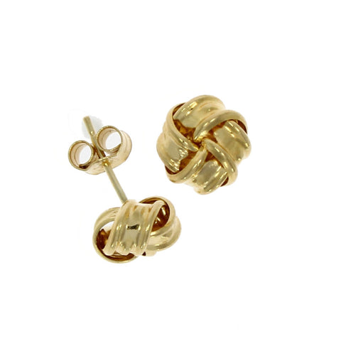9 carat gold ribbon knot stud earrings yellow metal
