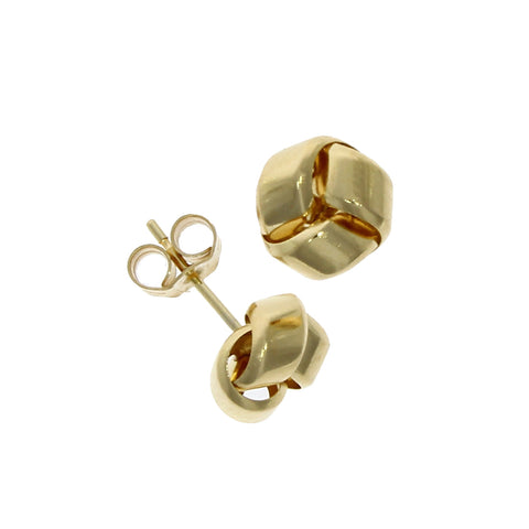 9 carat yellow gold knot design stud earrings
