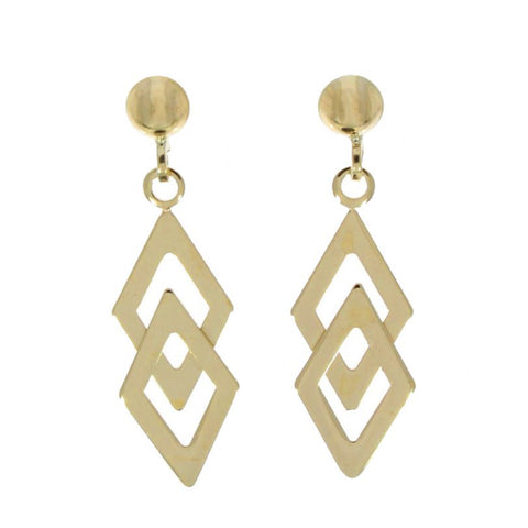 9 carat yellow gold double kite drop earrings