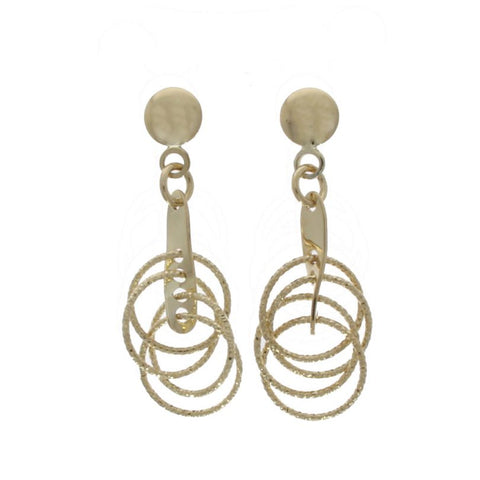 9 carat gold diamond cut circular drop earrings