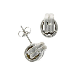 9ct White Gold 2 Oval Knot Earrings