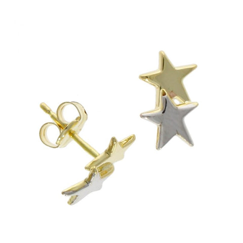 9 carat 2 colour gold double star stud earrings