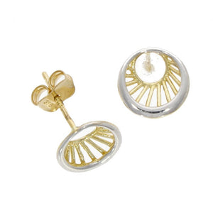 9 carat gold 2 colour eye stud earrings