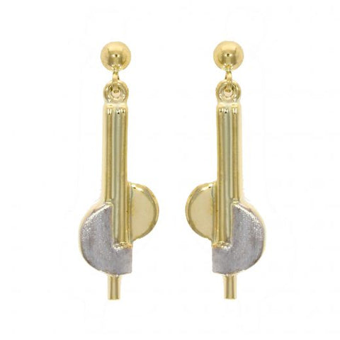 9 carat 2 colour gold bar and semi circular drop earrings