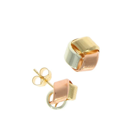 9 carat gold 3 colour strand knot design stud earrings