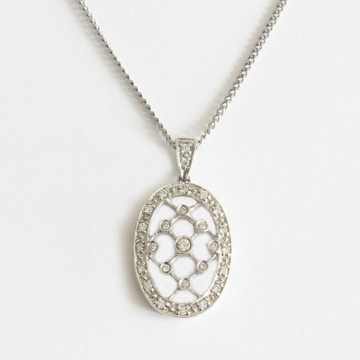 an edwardian style lattice pendant with diamonds