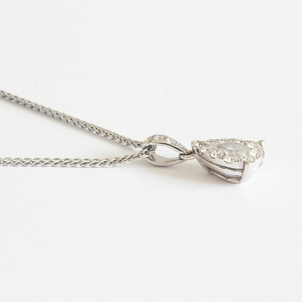 a stunning diamond cluster pear shaped pendant necklace in white gold marston barrett in lewes