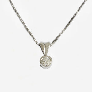 a diamond solitaire pendant necklace in white gold