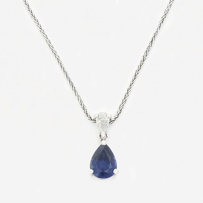 a sapphire diamond pear shaped drop pendant necklace white gold